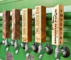 Custom lazer engraved wood beer tap handles by BeardedBoyDesign on Etsy, $46.00