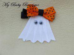Girls Halloween / Fall Hair Bow Clippy  Friendly by MyBabyBowtique, $4.00