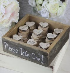 @Kelly Teske Goldsworthy Thompson As obsessed you are with magnets, this would be a perfect favor!!! LOL Rustic Wedding Favors Wood Heart Magnets Inside Rustic Box