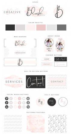 Gosto da cartela de cores e da letra de mão Website Branding Kit Site Web Design, Web Design Tutorial, Design Blog, Brand Design, Design Design, Brand Identity Design, Blog Header Design, Blog Designs, Design Ideas