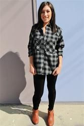 Cute Plaid Flannel Shirt in Grey. NEW in store at Dreamgirls and on www.shopdreamgirls.com