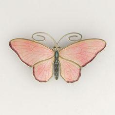 Antique Silver Enamel Butterfly Brooch - MARIUS HAMMER Norway