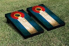 Colorado CO US Flag Vintage Grunge Cornhole Game Set
