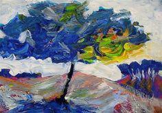 """""""Blue Tree"""" - Original Fine Art for Sale - © Mary Schiros"""
