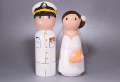CustomCao Military Wedding Wooden Peg Doll Cake Topper with 3D