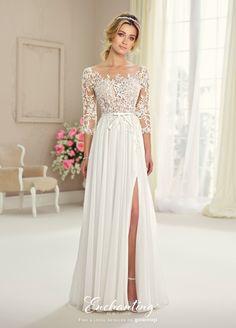We love this @moncheribridals 217108 #Bateau #Illusion #Train #WeddingDress #Wedding #Dress #AmericasBrideGR https://GownUp.com/gowns/23817