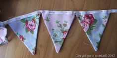 How to make fabric bunting flags, step by step tutorial.