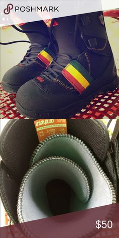 Snowboard Boots! Men's rasta and black colored snowboard boots. Perfect condition, never worn, size 8 in men's. Vans brand thirtytwo. Snag these for the season! Vans Shoes Rain & Snow Boots