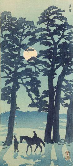 Moonlight 月夜 by Shiro KASAMATSU (1898-1991), Japan 笠松紫浪