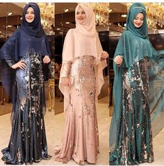 Image may contain: 3 people Muslim Women Fashion, Islamic Fashion, Hijab Evening Dress, Evening Dresses, Modest Dresses, Casual Dresses For Women, Clothes For Women, Abaya Fashion, Fashion Dresses