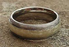 Wire Brushed Inlaid Titanium Wedding Ring | LOVE2HAVE UK! Titanium Wedding Rings, Titanium Rings, Gold Wedding Rings, Mens Designer Wedding Rings, Wedding Men, Wedding Ideas, Wire Brushes, Jewelry Rings, Rings For Men