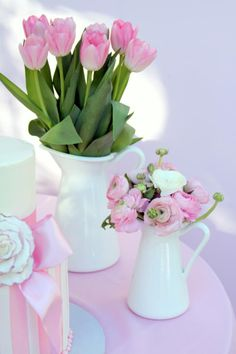 Spring Baby Shower girl pink pitchers tulips ranunculus centerpieces arrangements
