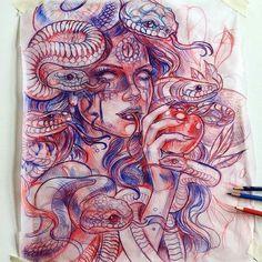 regram @art_motive Medusa sketch by artist @drkturcotte #supportart #support #artists #worldwide #staytruetotheart #art_motive @art_motive .