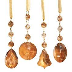 Set of 24 Amber Crystal Drop Ornaments #Christmas