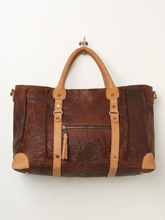 Free People Distressed Leather Weekender at Free People Clothing Boutique