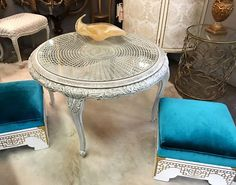 "Painted Carved Round Coffee Table With Glass Top On Sale  Painted With Farmhouse Paint Ash White  Asphatum Glaze  38"" Diameter x 24"" High   Was $595 Sale Price $395  Grace Designs  Dealer"