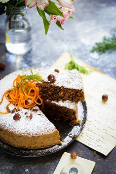 Gâteau de carottes et noisettes - Recette sans gluten sans beurre - Un déjeuner de soleil