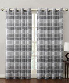 Taupe Stripe Allura Grommet Curtain Panel by Victoria Classics #zulily #zulilyfinds