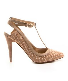 Take a look at this Nude Lattice Dame T-Strap Pump by Envy on #zulily today! (other colors available)