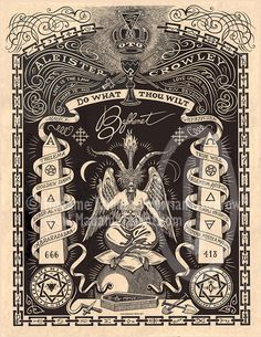 "Baphomet with many symbolic elements, and the mantra of Aleister Crowley, ""Do What Thou Wilt."""