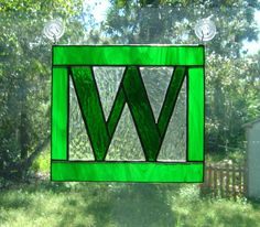 Letter W Initial CUSTOM Stained Glass by StainedGlassAndMore