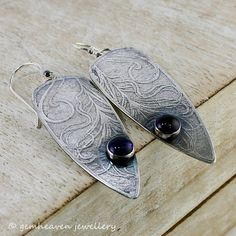 """Alluring"" statement Sterling silver earrings with Peacock pattern and amethysts by gemheaven jewellery"