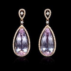 Diamond and Pink Amethyst 18k Rose Gold Dangle Earrings