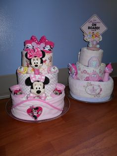 Disney Themed Diaper Cakes Minnie Mouse and Princess  just4udiapercakes@yahoo.com