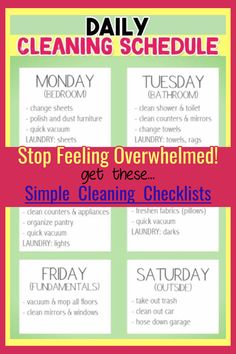 House Cleaning Hacks and Tips - Need a SIMPLE weekly house cleaning schedule for working moms OR for Weekly House Cleaning, Monthly Cleaning Schedule, Clean House Schedule, Daily Cleaning, Deep Cleaning Tips, Cleaning Checklist, House Cleaning Tips, Spring Cleaning, Cleaning Hacks