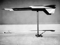 Mock-up of an A-12 plane is radar tested on a pylon at Nevada's secret Area 51 base in the late 1950s