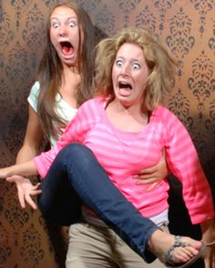 Haunted House faces-people's reactions as they are pictured in the haunted house in Niagara Falls, Ontario