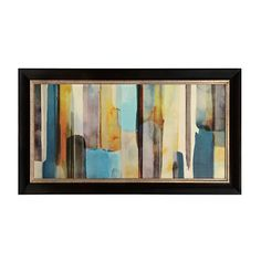 Teal Abstract Brushstrokes Framed Art Print