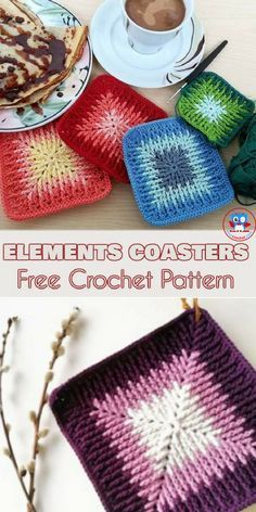 Colourful Elements Coasters. Elements Cal Square Pattern for Coasters, Blankets, Pillows, Centrepieces. This beautiful square is an absolute must this winter. Designed by Sandra Kuijer, Elements Cal started in December 2017 and has been a hit ever since then. There are lots of possible creations you can make - blankets, centrepieces, and pillows are most obvious. Let your imagination run wild. #freecrochetpatterns #elementscal #coasters #yourcrochet #square #crochetblanket