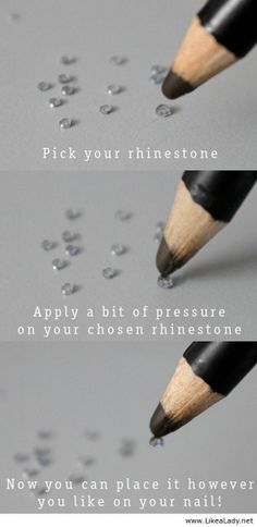 Use a waxy pencil to apply rhinestones for nail art