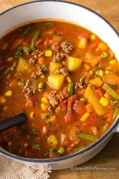 Easy Hamburger Soup Beef Soup Recipes, Vegetable Soup Recipes, Crockpot Recipes, Cooking Recipes, Easy Recipes, Homemade Vegetable Soups, Recipes Dinner, Hamburg Soup Recipes, Simple Soup Recipes