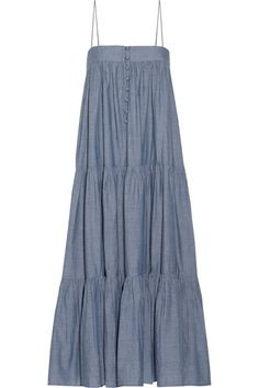 APIECE APART - Tangiers Tiered Cotton-chambray Midi Dress - Blue - US6