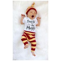 3PCS Clothing Set Newborn Baby Boys Girls Letter Muggle