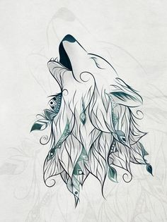 Wolf Art Print by LouJah – Art Sketches Wolf Tattoos, Cute Tattoos, Body Art Tattoos, Tatoos, Animal Drawings, Art Drawings, Wolf Drawings, Wolf Canvas, Art Sketches