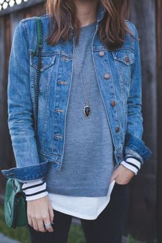 Striped long sleeves tee, grey sweater, denim jacket and simple jeans.