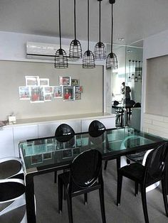 Lianne Lim Interiors - Official Site : Streamline Minimalism Style Poinsettia Townhouse, Black and White style with industrial droplights