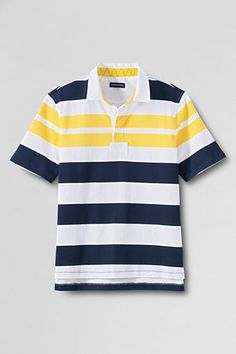 Mens Short Sleeve Yarn Dyed Stripe Rugby from Lands End