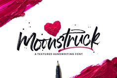 A quick and sassy handwriting font, made with a dry Tombow Fudenosuke. Use Moonstruck on branding, magazines, product packaging, Pretty Fonts, Beautiful Fonts, Cool Fonts, Awesome Fonts, Hand Lettering Fonts, Script Fonts, Lettering Design, Cursive Handwriting, Cursive Calligraphy