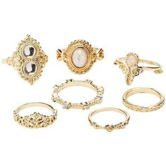 Charlotte Russe Embellished Stacking Rings - 7 Pack ($5.99) ❤ liked on Polyvore featuring jewelry, rings, gold, stackable rings, charlotte russe jewelry, charlotte russe, cabochon jewelry and cabochon ring