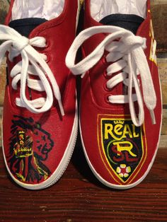 Real Salt Lake Inspired Shoes - pinned by pin4etsy.com