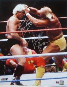 Hulk Hogan Ric Flair Dual-Signed WWF WWE Wrestling 16x20 Photo WWE Holo JSA ITP
