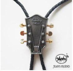 corbata de bolo cordón oeste guitarra antiguo plata Corbata De Bolo 0abb547c62e
