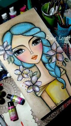 Ideas For Painting Face Girl Mixed Media Painting Of Girl, Painting & Drawing, Art And Illustration, Arte Popular, Whimsical Art, Face Art, Mixed Media Art, Mixed Media Faces, Painting Inspiration