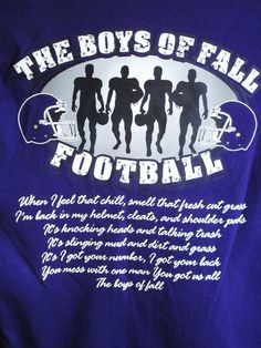 Items similar to Custom Personalized Unisex The Boys of Fall Football T-Shirt w/ Player # Available in Most Team Colors in Sizes on Etsy Football Banquet, Football Cheer, Fall Football, Football Love, High School Football, Football Season, Football Shirts, Football Stuff, Football Sayings