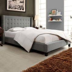 Francesca Grey Linen Wingback Bed | Overstock.com