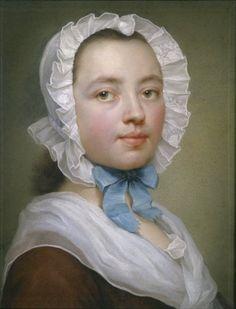 MENGS-MARON Therese Concordia ~ self portrait 1745 / Pastel sobre papel azu
